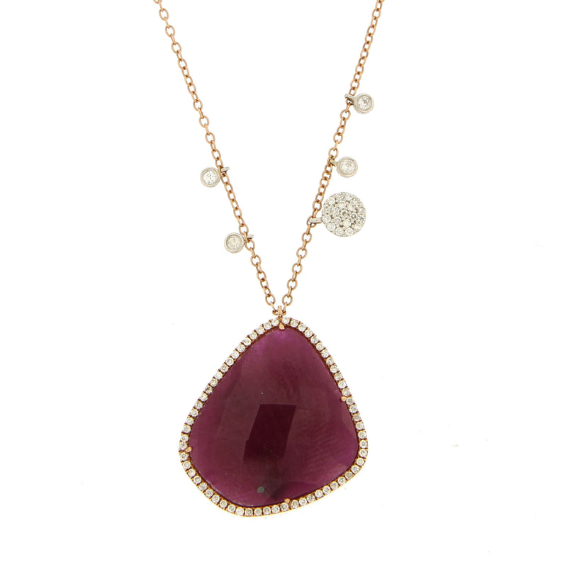 Rose Gold Ruby Necklace with Diamonds