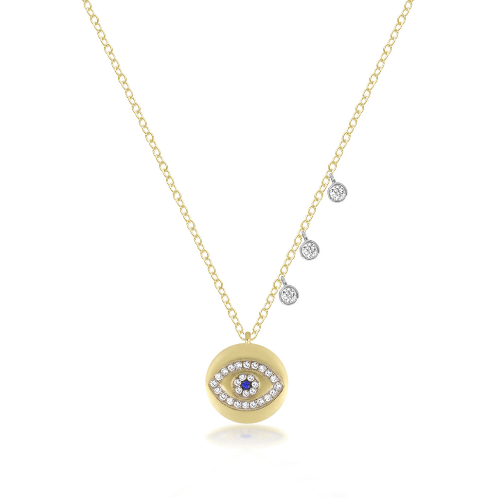 14k Gold, Diamond, Blue Sapphire Evil Eye Necklace