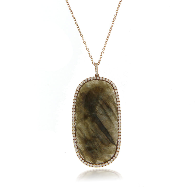 Oversized Labradorite Diamond Necklace ONE OF A KIND