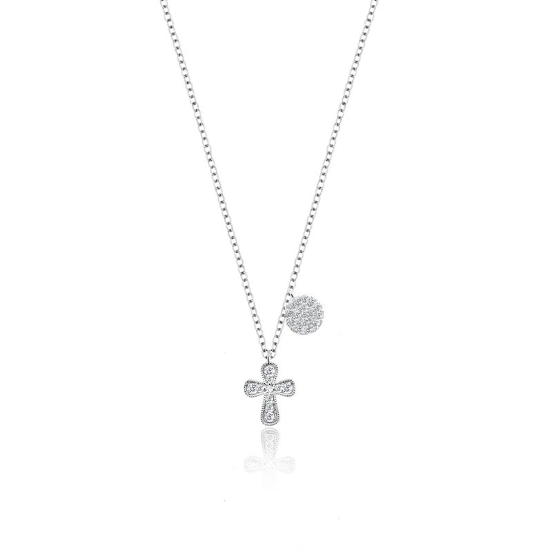 Diamond Cross Necklace with Diamond Disk