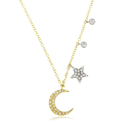 Gold Moon and Star Diamond Necklace