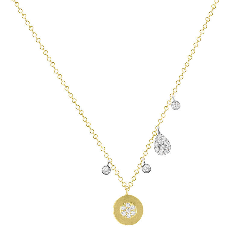 Yellow Gold Disc Necklace with Diamond Bezels and Charms