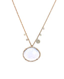 14k Rose Gold, Australian Opal, Diamond & Off-Centered Charm Necklace