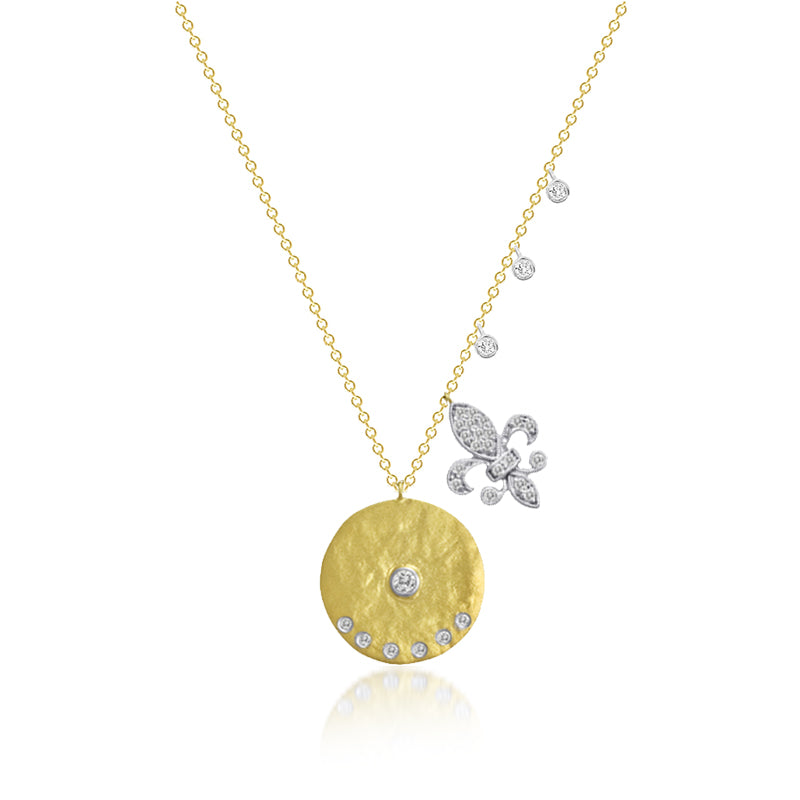 Vermeil and White Sapphire Meira T Coin Necklace