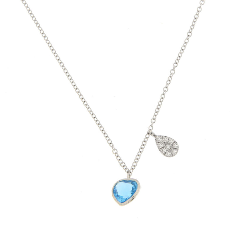 Blue Topaz Heart Necklace