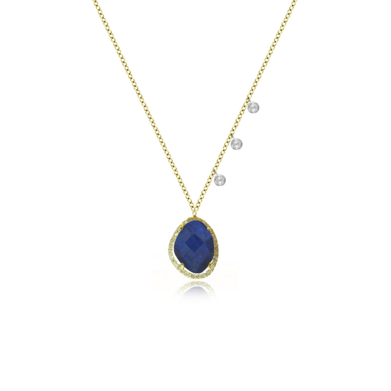 Yellow Gold Blue Labradorite Necklace