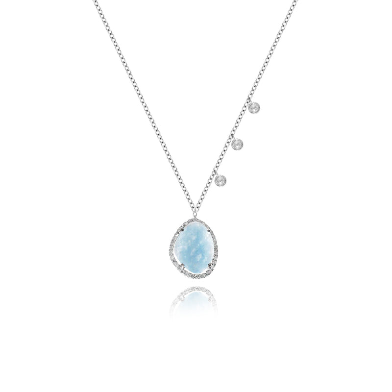 White Gold Milky Aqua Diamond Necklace