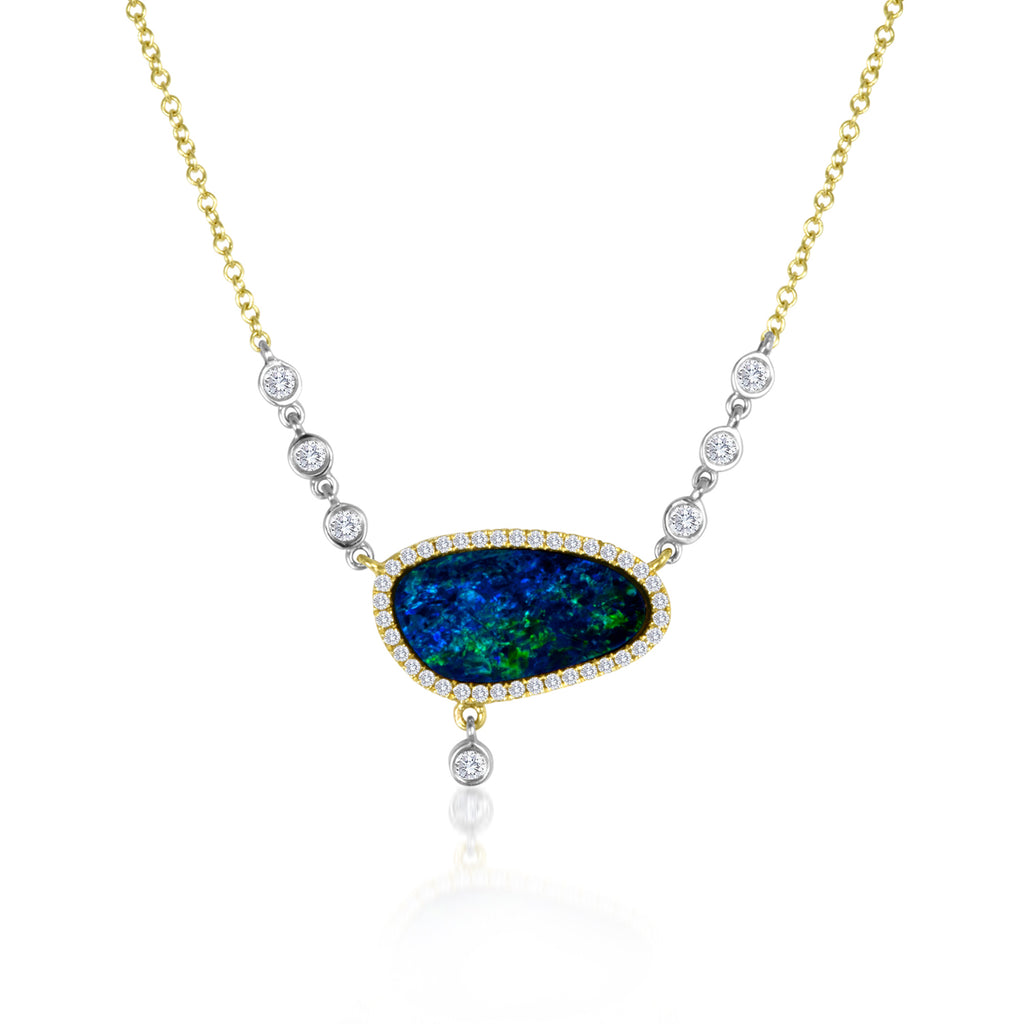 Yellow Gold Opal Necklace with Diamond Accents