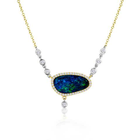 Australian Opal White Gold Necklace with Diamond Accents