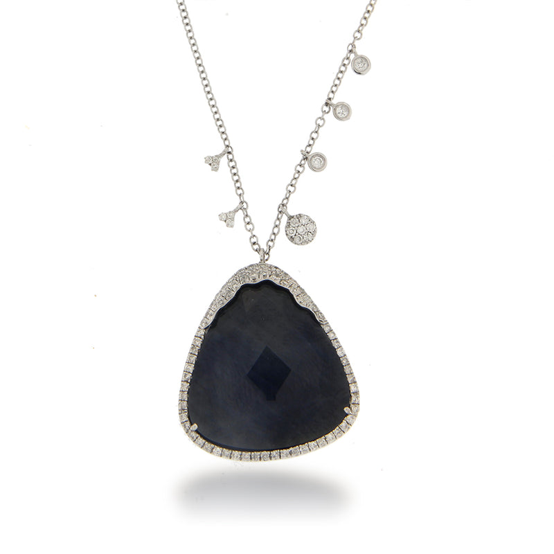 White Gold Blue Sapphire Diamond Necklace ONE OF A KIND