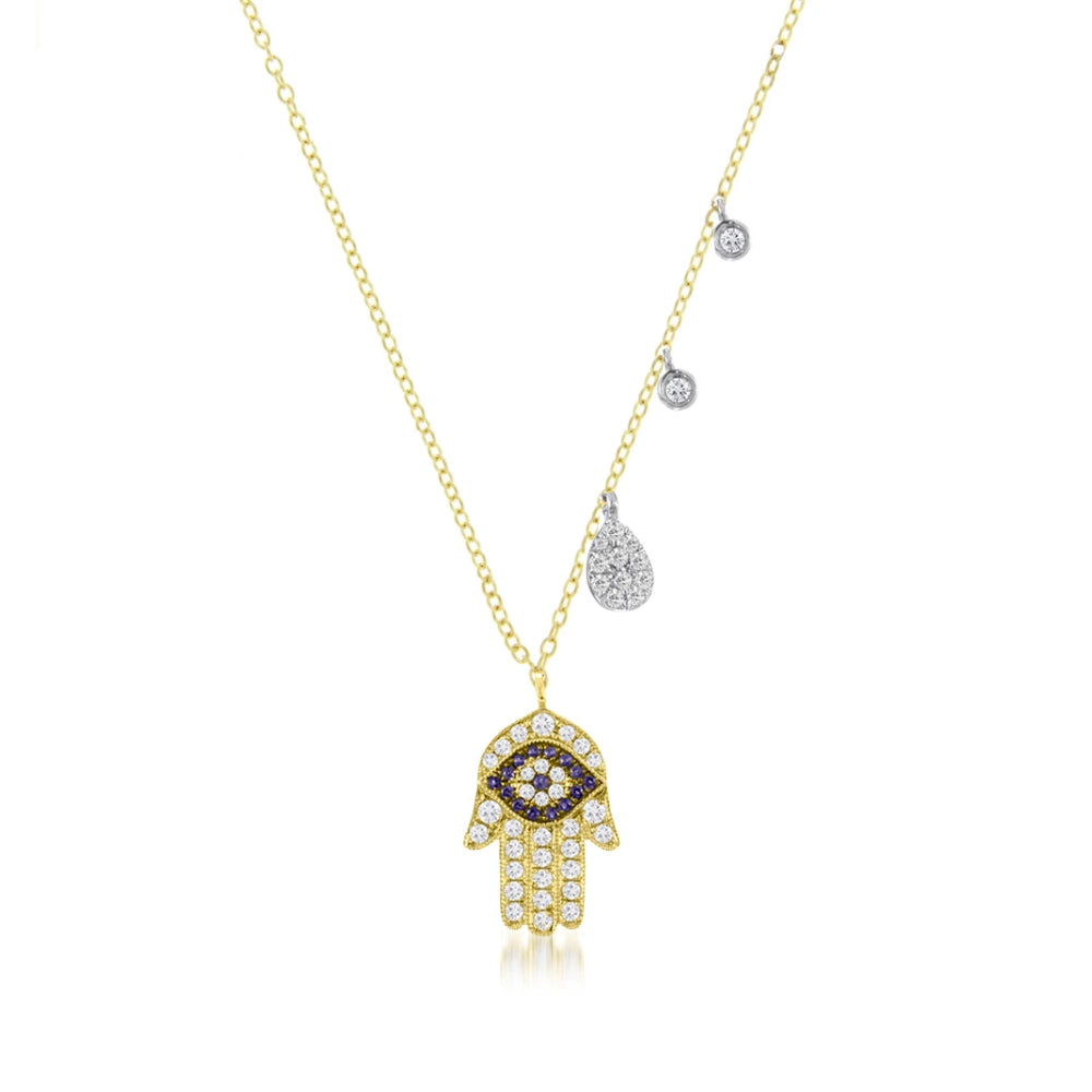 Hamsa & Evil Gold Necklace With Diamond Accent Charms