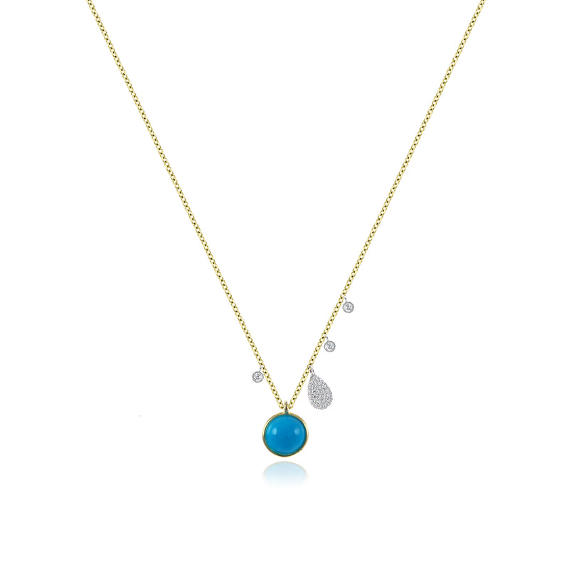 Turquoise Yellow Gold Delicate Charm Necklace