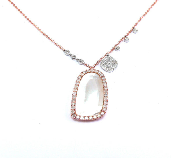 Rose Gold White Topaz Charm Necklace