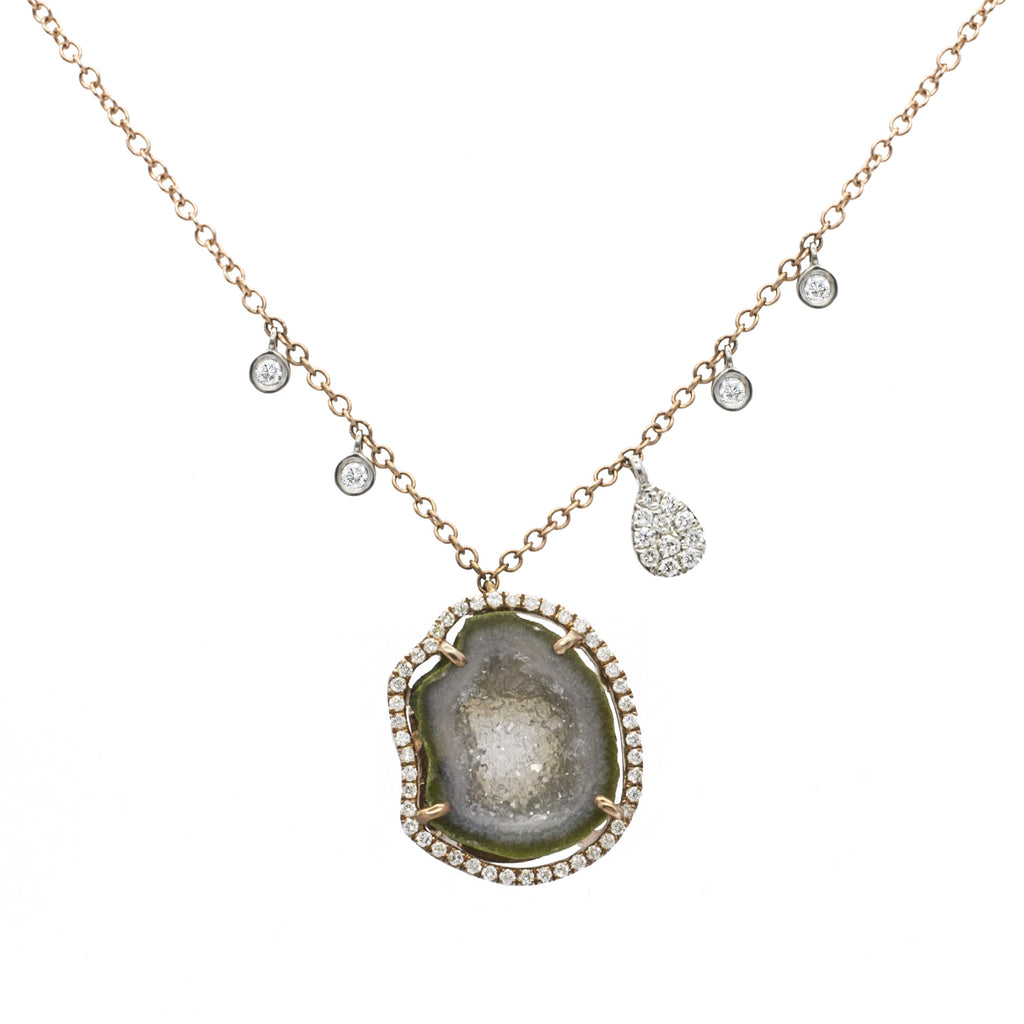 Geode Diamond Necklace with Off-Centered Charms