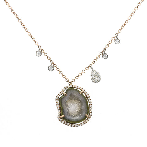 Meira T Geode Diamond Necklace with Off-Centered Charms