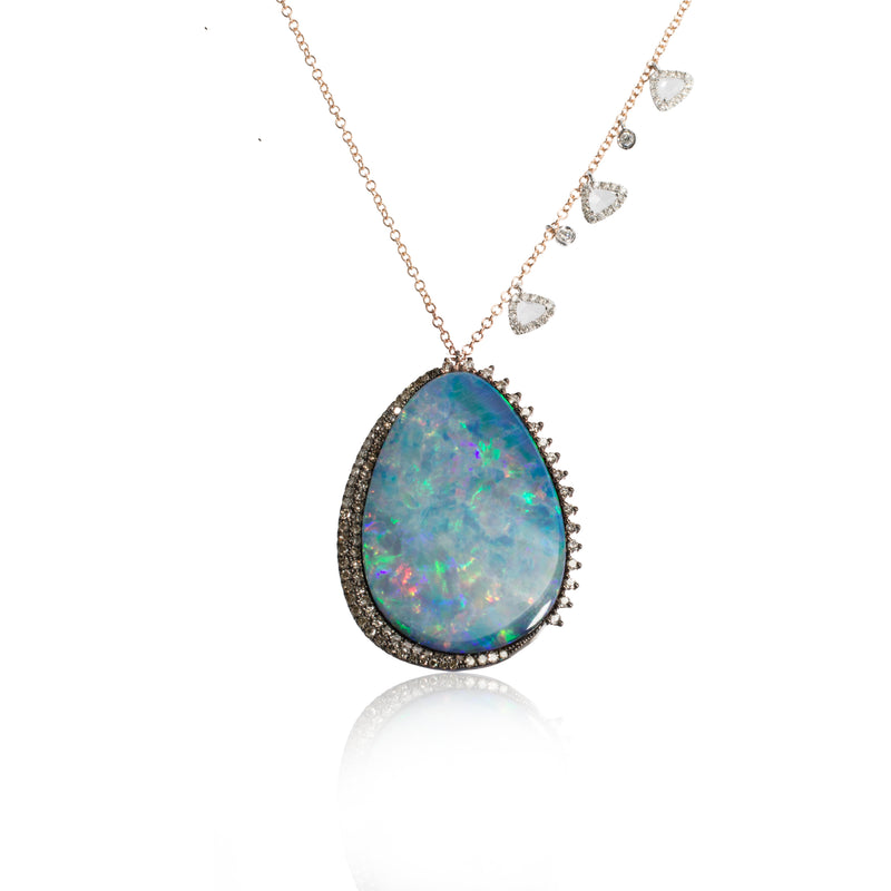 White Gold Opal Necklace