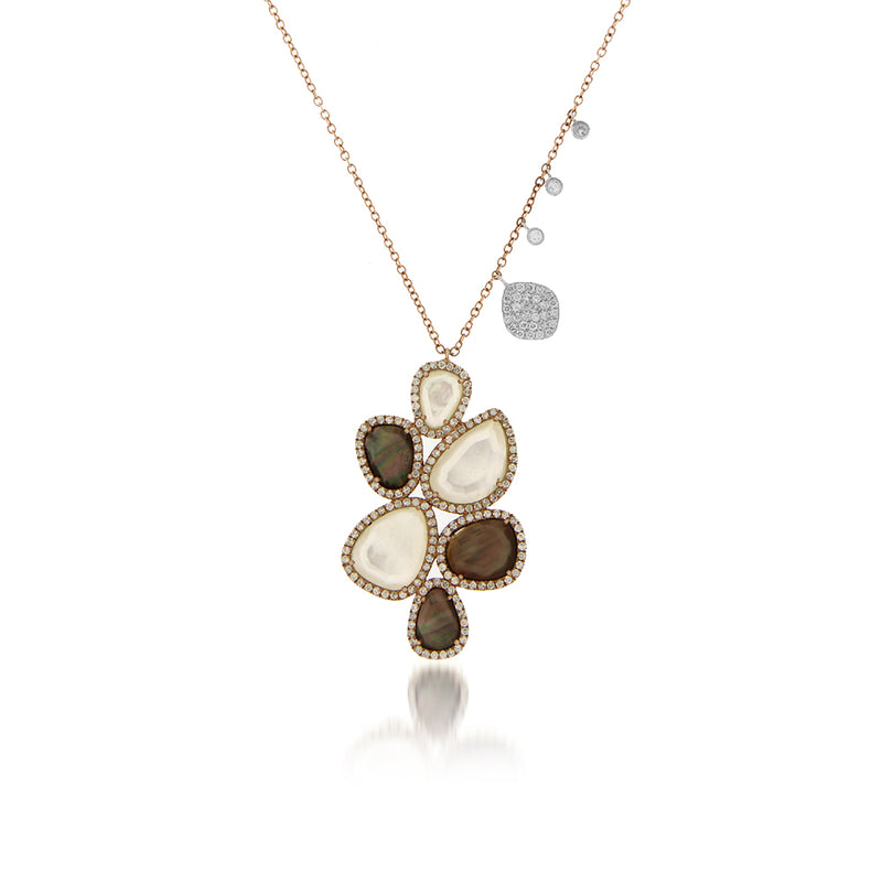 Mother of Pearl and Topaz Organic Necklace