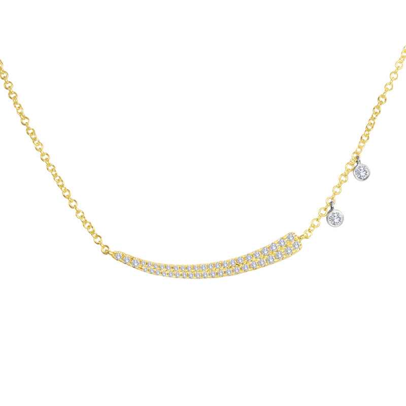Pave Yellow Gold Curved Diamond Bar
