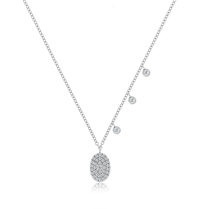 White Gold Disc Diamond Necklace