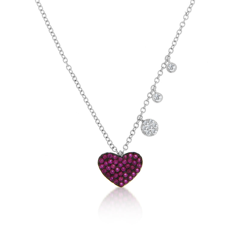 ruby heart necklace with diamonds