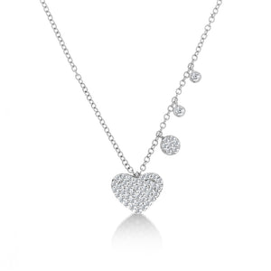 diamond heart necklace white gold
