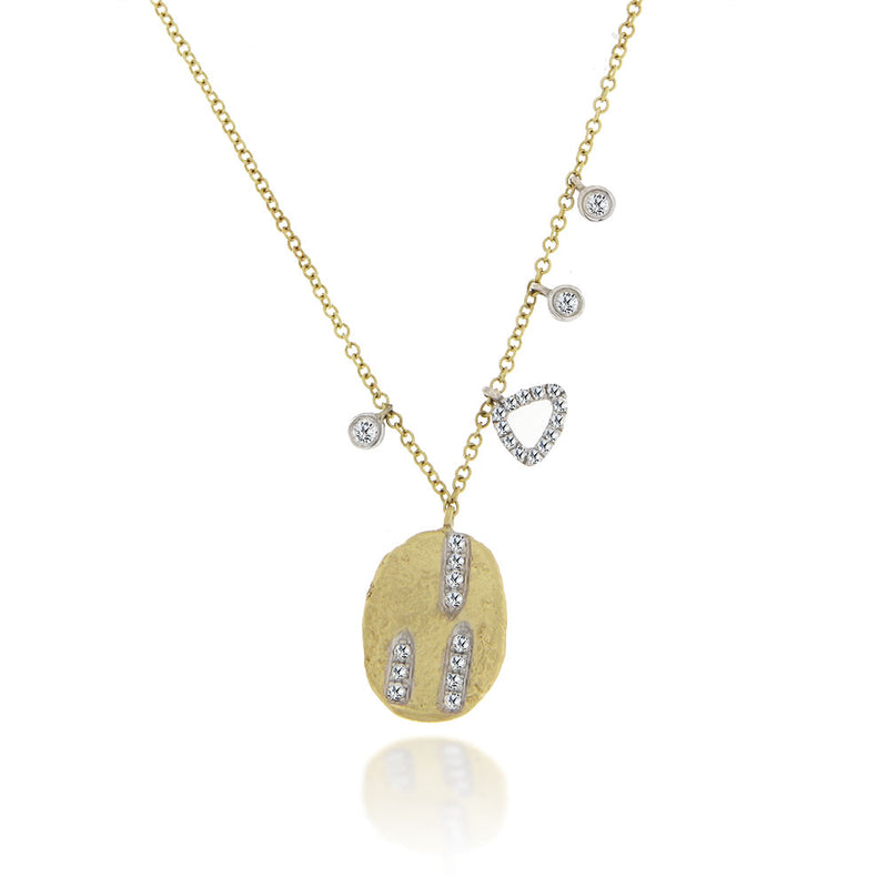 Gold Pendant Necklace with Diamond Accents