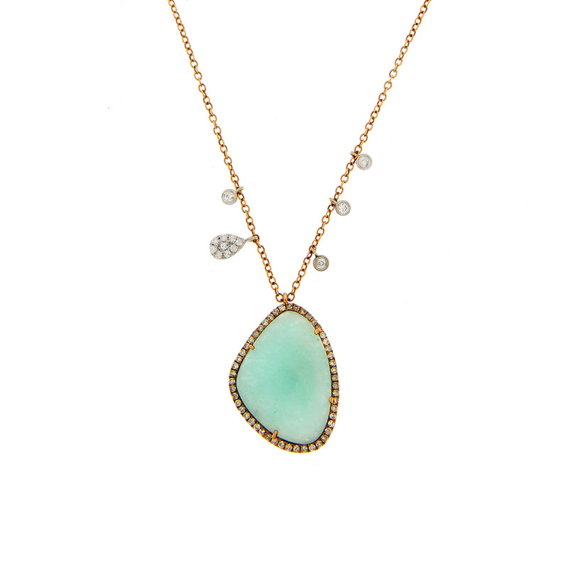 Amazonite Necklace in Rose Gold with Diamonds and Brown Diamonds