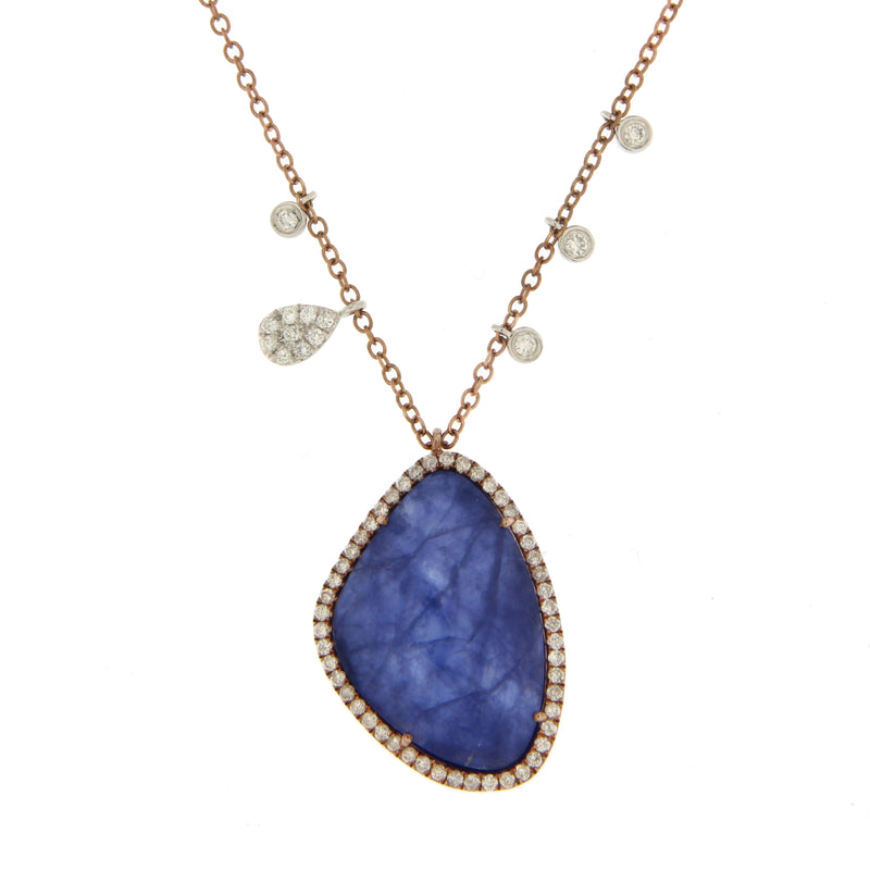 Lapis Diamond Necklace in Rose Gold