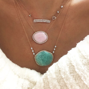 Amazonite Bezel Diamond Necklace