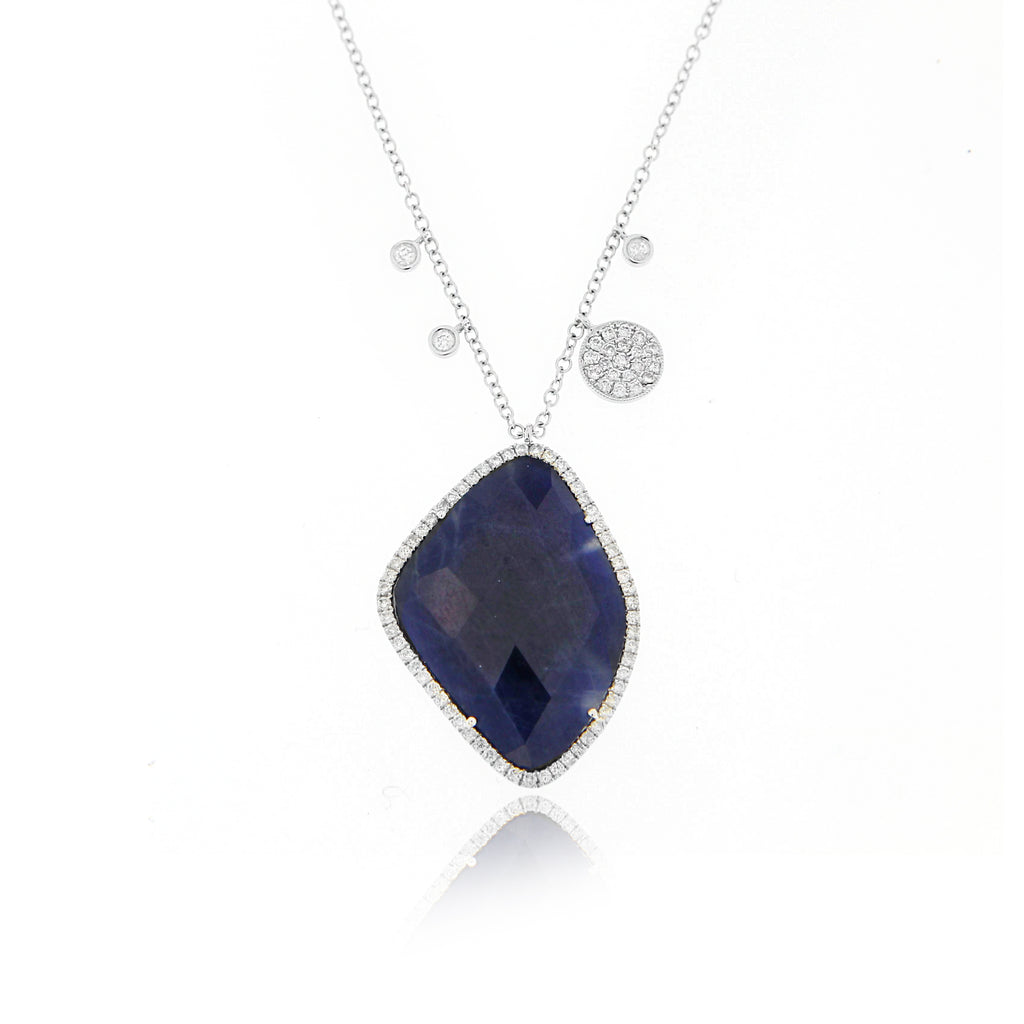 Blue Sapphire White Gold Necklace