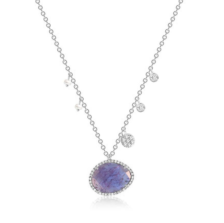tanzanite and diamond necklace in 14k white gold