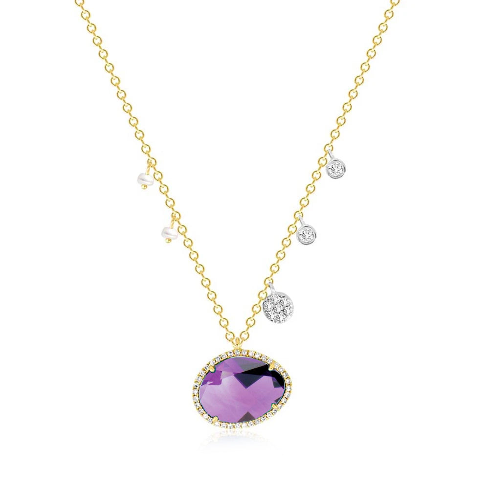 Amethyst with Off-Centered Pearls & Diamond Charms