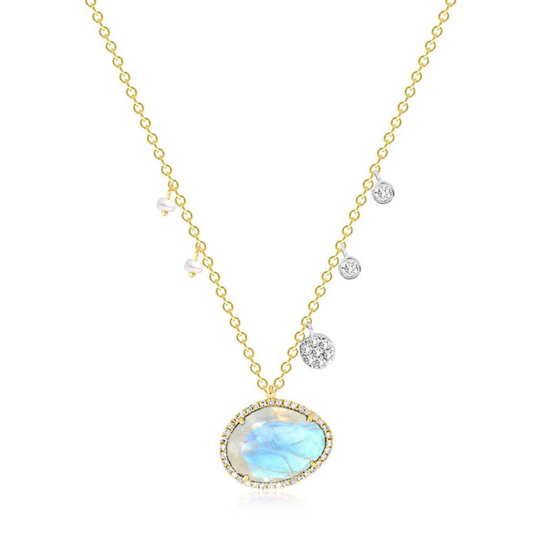 Moonstone with Off-Centered Pearls & Diamond Charms