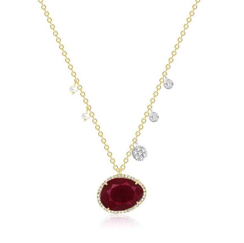 Ruby Off-Centered Pearls & Diamond Charms