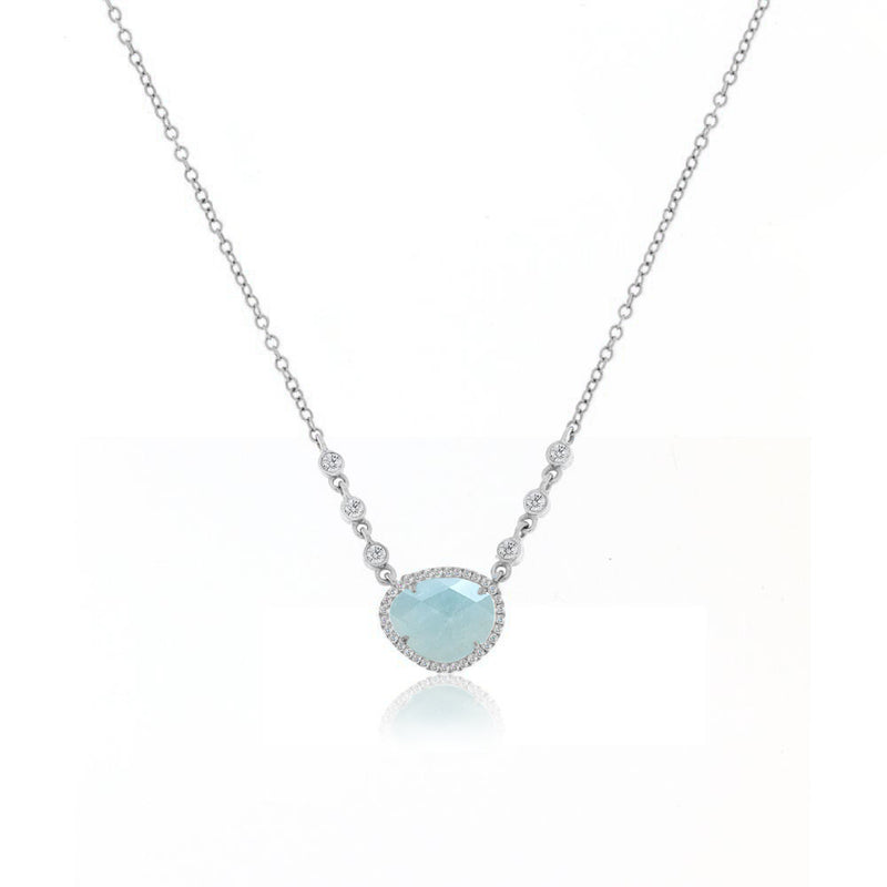 White Gold Milky Aqua Necklace