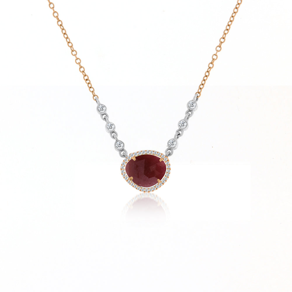 Ruby Necklace with Diamond Bezels