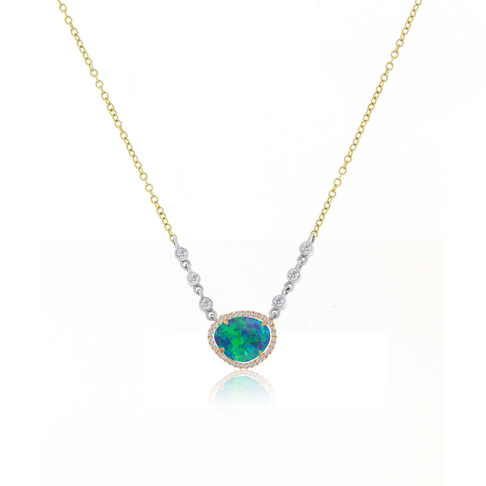 Opal Halo Necklace