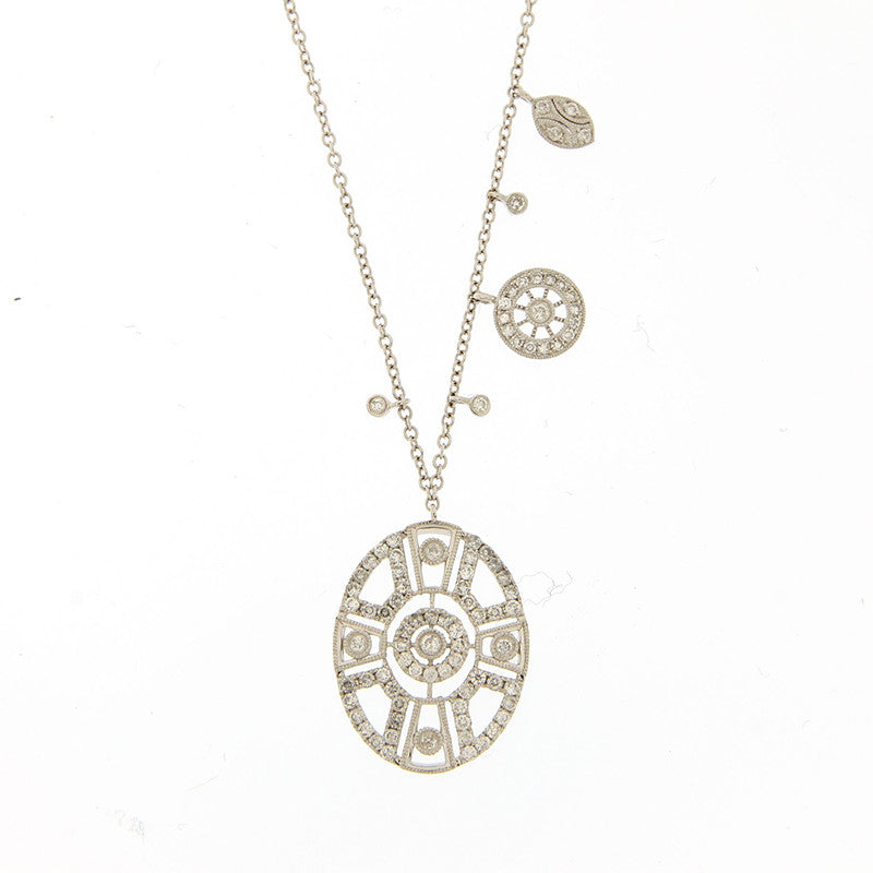 Meira T Diamond Vintage Inspired Pave Charm Necklace
