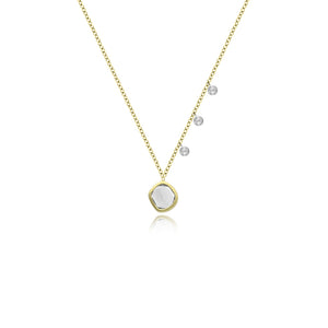 Yellow Gold White Topaz Necklace with Diamonds