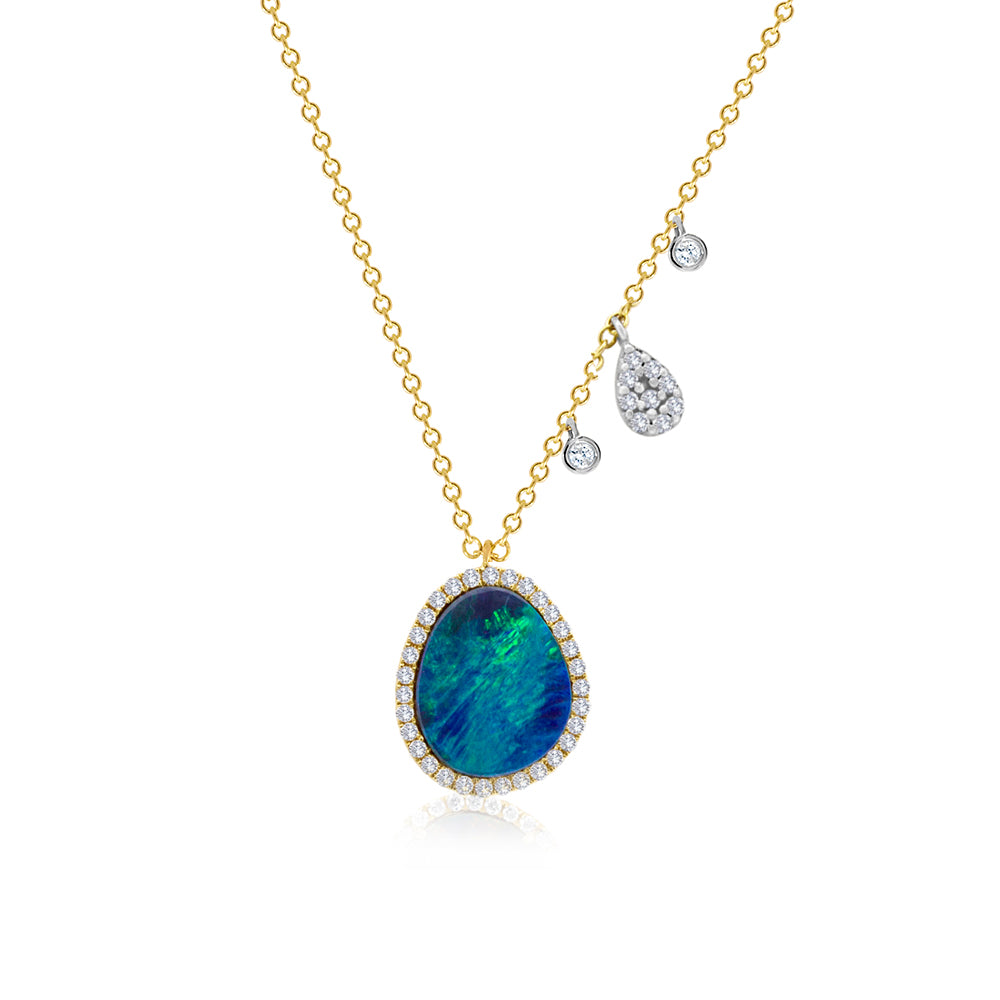Opal and Yellow Gold Diamond Necklace