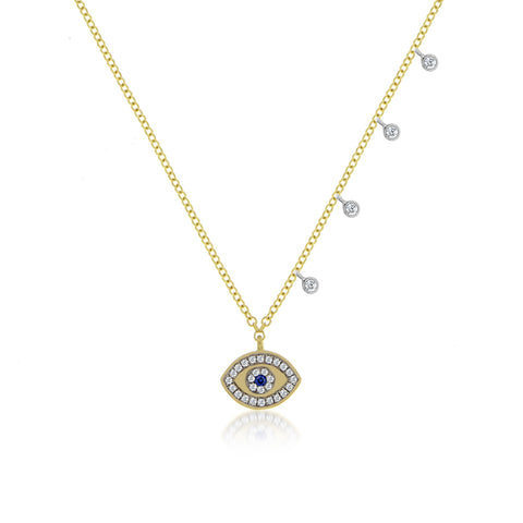 Sapphire and Diamond Yellow Gold Evil Eye Necklace