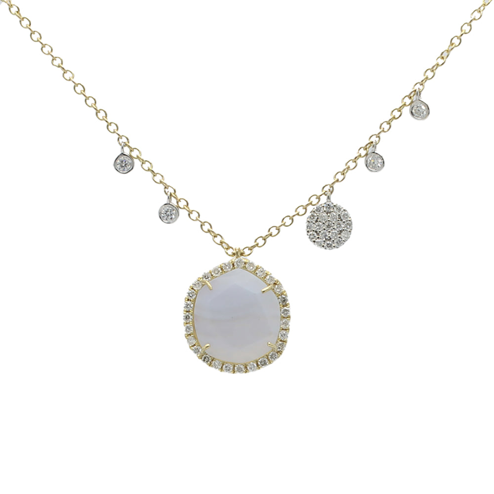 Chalcedony and Yellow Gold Diamond Necklace