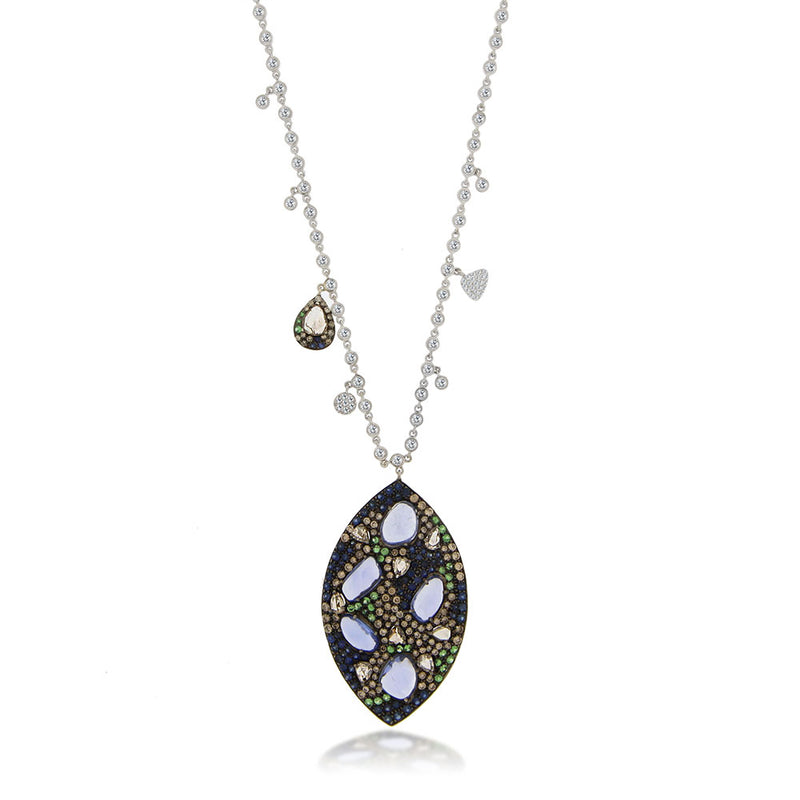 Diamond Pendant Necklace with Bezels Tanzanite Center