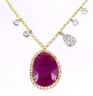 Yellow Gold and Diamond Ruby Necklace