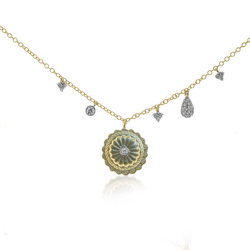 Flower Off-Centered Charm Necklace