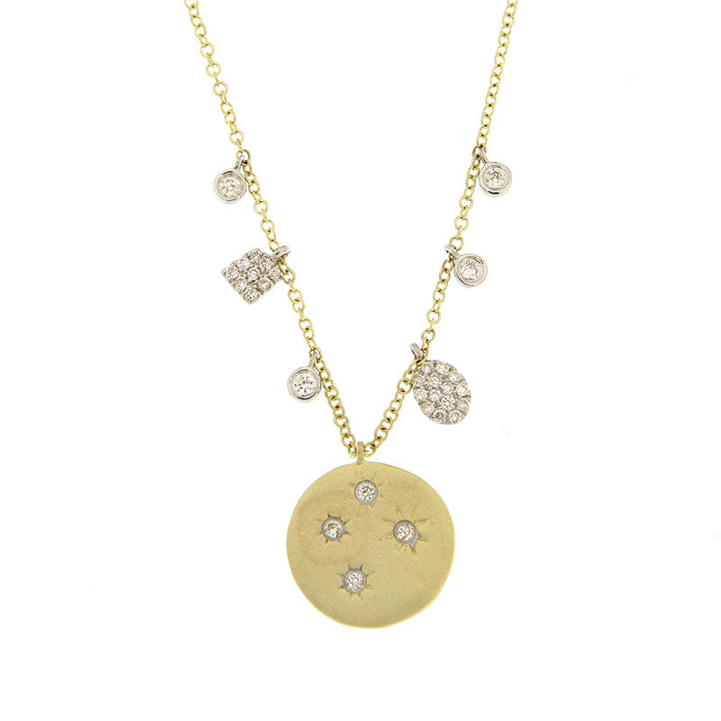 Diamond 14k yellow gold starburst disc pendant necklace aloadofball