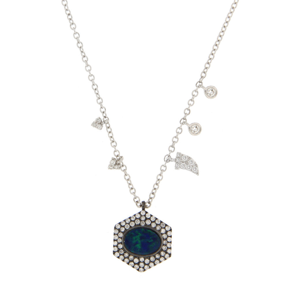 Opal and Diamond White Gold Necklace