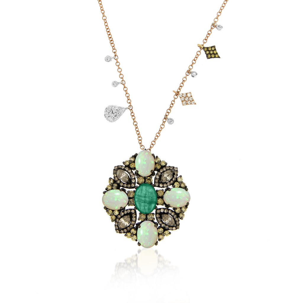 Luxurious Stone and Diamonds Necklace
