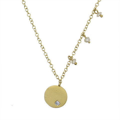 Meira T Children's Line Brushed Gold Disc Necklace with Pearl Accent Charms