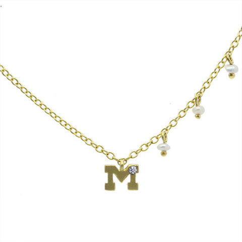 Meira T Children's Line Brushed Yellow Gold Initial Pendant